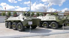 Armored personnel carriers. Pyshma, Ekaterinburg, Russia. 1280x720 Stock Footage