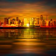 Stock Illustration of abstract background with panorama of vancouver
