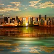 abstract background with panorama of vancouver - stock illustration