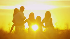Loving Caucasian Family Together Outdoors Sunset Carefree Lifestyle Happiness Stock Footage