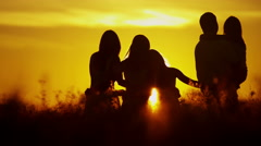Loving Caucasian Family Together Outdoors Sunrise Carefree Lifestyle Happiness - stock footage