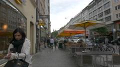 Walking on Tal Strasse in Munich Stock Footage