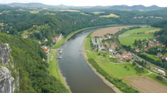 Town of Oberrathen and Niederrathen along the Elbe River seen from the Bastei - stock footage