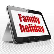 Tourism concept: Family Holiday on Tablet Computer display - stock illustration
