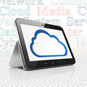 Cloud networking concept: Cloud on Tablet Computer display - stock illustration