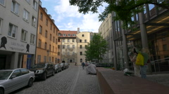 The Vindelikerhaus seen from Lueg ins Land street in Munich Stock Footage