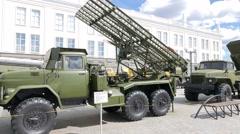 Missile launchers Grad. Pyshma, Ekaterinburg, Russia. 1280x720 Stock Footage