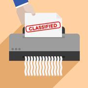 shredding classified letter - stock illustration