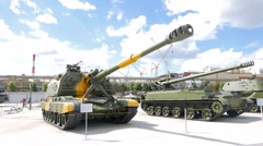 Self-propelled artillery. Pyshma, Ekaterinburg, Russia. 1280x720 Stock Footage