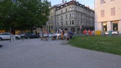 Musicians playing their instruments in Marienhof, Munich Stock Footage