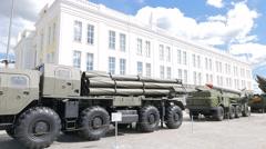 Smerch multiple rocket launchers. Pyshma, Ekaterinburg, Russia. 1280x720 Stock Footage