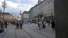 The crowded Marienplatz, Munich Stock Footage
