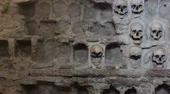Human skulls wall Stock Footage