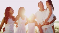 Loving Caucasian Family Togetherness Outdoors Carefree Lifestyle Happiness - stock footage
