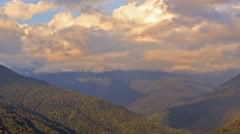 The slopes of the mountains at sunset, Ridge Psakho. Sochi, Russia. 1280x720 Stock Footage