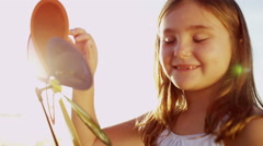 Caucasian Girl Amusement Simple Toy Outdoors Childhood Memories Clean Eco Energy - stock footage