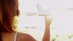 Cute Caucasian Girl Toy Aircraft Summer Freedom Flight Imagination Ambition - stock footage