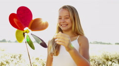 Caucasian Girl Amusement Simple Toy Outdoors Childhood Memories Clean Eco Energy Stock Footage