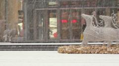 Shenyang shopping street, snow, China Stock Footage