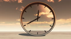 4k clock in timelapse & fast flying cloud background,watch in time at dusk. Stock Footage