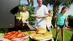 Young Female Children Caucasian Mother Father Modern Healthy Grill Casual Eating Stock Footage