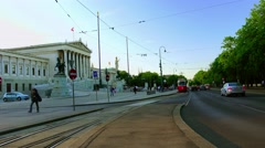 ULTRA HD 4K real time shot,The Parliament and the Ring Road in Vienna Stock Footage