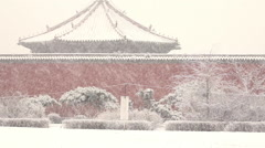Chinese winter, snow falling, palace Stock Footage