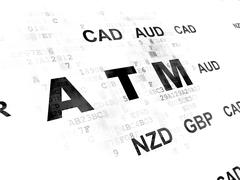 Stock Illustration of Currency concept: ATM on Digital background
