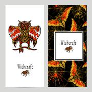 Witchcraft Magic Banner Set - stock illustration