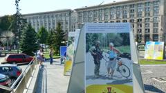 KIEV CITY,UKRAINE – 31 AUGUST 2015: square Maidan Nezalezhnosti - stock footage