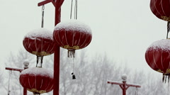 Red Chinese lanterns, winter snow Stock Footage