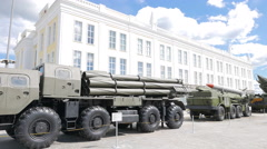 Smerch multiple rocket launchers. Pyshma, Ekaterinburg, Russia. 4K Stock Footage
