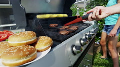 Outdoor Grill Food Cooking Healthy Lifestyle Caucasian Family Bright Clothes Stock Footage