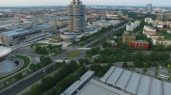 Aerial view of the BMW Museum in Munich - stock footage