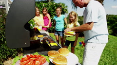 Fresh Food Cooking Outdoors Barbecue Caucasian Family Healthy Nutrition Eating - stock footage