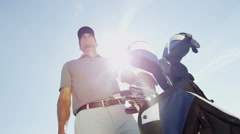 Caucasian Male Pro Golfer Play Course Golf Resort Global Success Target Business Stock Footage