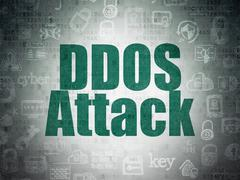 Protection concept: DDOS Attack on Digital Paper background - stock illustration