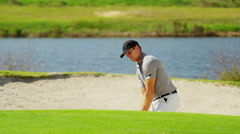 Career Golf Player Male Caucasian Bunker Practice Club Sponsorship - stock footage
