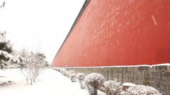 Snow falling, Chinese wall, China Stock Footage