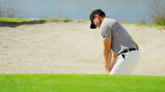 Caucasian Male Golf Sport Corporate Competition Sand Bunker Club Profession - stock footage