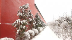 Snow covered street, Chinese palace walls Stock Footage