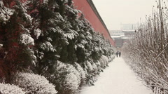 Winter snow, red Chinese wall, Shenyang Stock Footage