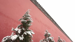 Imperial palace wall, snow, China Stock Footage