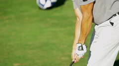Healthy Outdoor Golf Course Male Caucasian Pro Golfer Player Outdoors Activity - stock footage