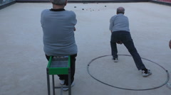 Malta island, local seniors play boule Stock Footage