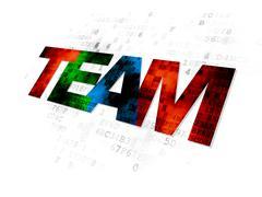 Finance concept: Team on Digital background - stock illustration