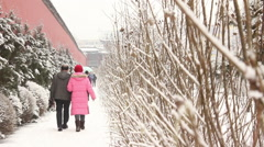Chinese people walking on snowy path Stock Footage