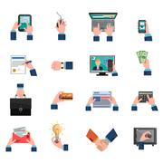 Business Hands Icons Flat Set - stock illustration