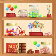 Stock Illustration of Sweet Store Shelf