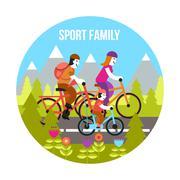 Sport Family Concept - stock illustration